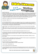Story notes based on Matthew 18 where Jesus talks about resolving disputes and gathering to pray.