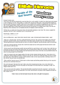 Story notes based on Matthew 21 where Jesus tells the parable of the Vineyard owner asking his sons for help